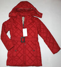 NWT Girls BURBERRY Red Long Quilted Puffer Coat Size 12