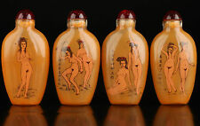 Collectable Four Glass Wonderful Naked Woman Inside Painted Snuff Bottle NER069