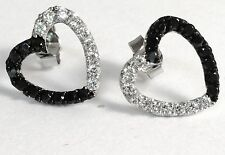 hart  Micro Pave Set Cubic Zirconia Earrings 14kt white  Gold Over 925 Silver