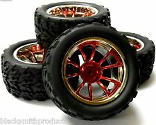 A890015 1/10 Scale Off Road Monster Truck RC Wheels and Tyres Red 10 Spoke x 4