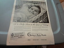 """1945 Gerber's Baby Food Vintage Magazine Ad """"To a Baby Born in the Year of..."""""""