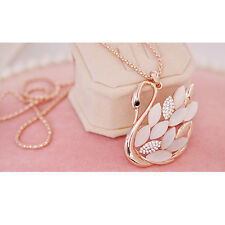 champaign Gold Crystal Cat Eye Opal Swan Long Chain Sweater Pendant Necklace