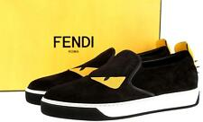NEW  FENDI ROMA BLACK LEATHER MONSTER BUGGIES EYE SNEAKERS SLIP-ON SHOES 8.5