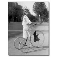 "*Postcard-""Young Girl Wearing Bow...on a Tricycle"" (Bicycle)  -CLASSIC--"