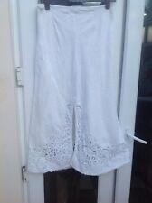 Per Una M&S 14R WHITE LINEN FULLY LENGTH SKIRT WITH LACE DETAILS AT HEM