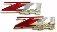 Z71 4X4 New Chevy 3D Emblems Logo Badge Decals Chrome Red x 2