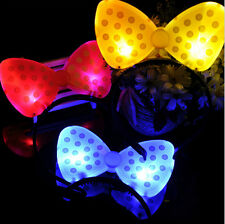 MINNIE MICKEY MOUSE EARS LIGHT UP BOW HEADBANDS FLASHING LED PARTY FAVORS