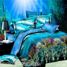 New Blue Sea Dolphin Queen Size Bed Quilt/Doona/Duvet Cover Set 100% Polyester