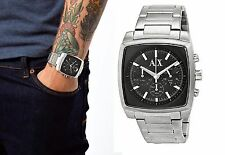 new + box men's ARMANI EXCHANGE AX2253 Black Square Face Steel Chrono A/X WATCH