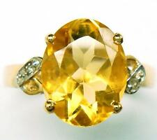 GORGEOUS 10KT YELLOW GOLD CITRINE & DIAMOND RING  SIZE 7   R707