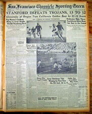 <1926 newspaper EARLY PAC 12 COLLEGE FOOTBALL Stanford def USC OREGON def CAL