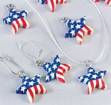10 Patriotic Star Flag Beads Charms made from Polymer Clay July 4th