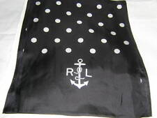 RALPH LAUREN Black Polka Dot Nautical Anchor Silk Neck Scarf NEW