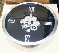 "METAL MOVING GEARS  WALL CLOCK 14"" DIAMETER  W/ MOVING GEARS IN CENTER 42825"