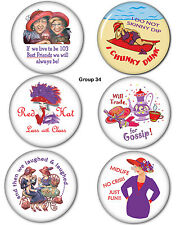 "#34 FUNNY 3"" BUTTONS PIN BACKS GROUP FAVORS GIFTS FOR RED HAT LADIES OF SOCIETY"
