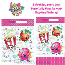Shopkins Party Favour Loot Bags (8 count) Birthday Party Supplies Lolly Bags