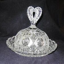 Vintage Cut Glass Cheese Dish Dome or Butter Dish Heart Shape Knob