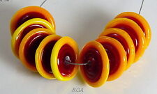 ROA Lampwork 10 Red & Yellow Tipped Handmade USA Disc Art Glass Beads SRA