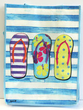 Beachy Flip Flops Reusable tote bag. Made of Recycled Materials. Go Green!