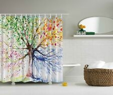 """Green Pink Yellow Blue Brown Tree Leaves Geometric Fabric Shower Curtain 70"""""""