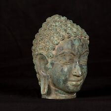 18th Century Antique Southeast Asia Thai Bronze Buddha Head Statue - 18cm/7""