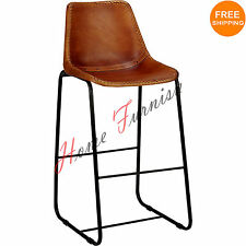 Vintage Look Industrial Bar Chair Genuine Leather Chairs Restaurant Furniture