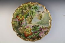 GORGEOUS J. Golse Limoges Hand Painted Flower Grape Vine Porcelain Charger Plate