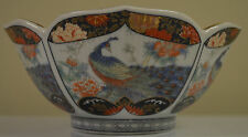 Vintage Royal Peacock Porcelain Floral & Peacock Design Gold Accent Bowl Japan