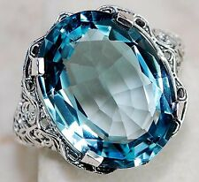 8CT Aquamarine 925 Solid Genuine Sterling Silver Art Nouveau Ring Sz 7