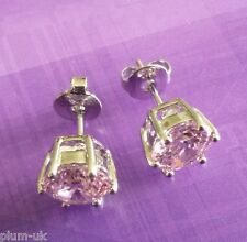 G16. Plum UK 7mm pink tourmaline 18k silver WHITE GOLD gf stud earrings BOXED