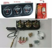 UNIVERSAL TRIPLE AUTO CAR ENGINE GAUGE SET WATER OIL PRESSURE TEMP AMPERES AMPS