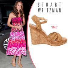 NIB $429 Stuart Weitzman Minx Espadrille Cork Wedge Sandal Shoes sz 6.5