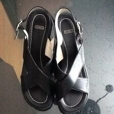 COACH CHARLYN BLACK LEATHER  WEDGE / PLATFORM SANDALS SIZE- 6,5B MADE IN ITALY