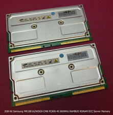 2GB Kit Samsung MR18R162WDG0-CM8 PC800-40 800MHz RAMBUS RDRAM ECC Server Memory