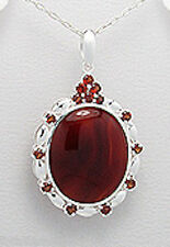 Solid Sterling Silver 43mm Antique Style Oval Red Agate Pendant 8g