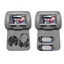 "2x 7"" HD Car Gray Headrest Digital Monitor DVD Player Pillow USB SD IR Headphone"