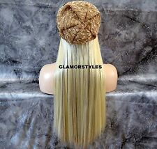 "18"" BLONDE MIX FLIP IN SECRET CLEAR WIRE HAIR PIECE EXTENSIONS NO CLIP ON/IN NEW"