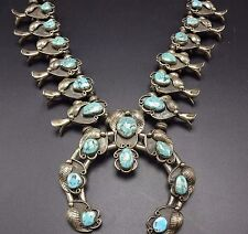 Vintage 1950s NAVAJO Sterling Silver & Turquoise SQUASH BLOSSOM Necklace