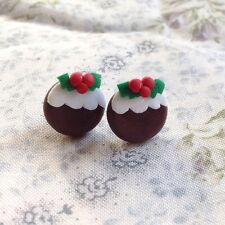 Earrings Christmas pudding studs Xmas party handmade cute festive