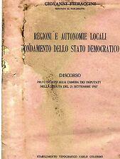 Pieraccini # REGIONI E AUTONOMIE LOCALI FONDAMENTO DELLO STATO DEMOCRATICO# 1957