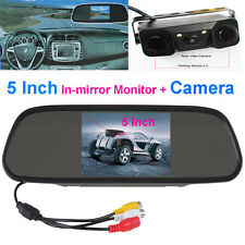 "3in1 Radar Paraking Sensor Backup Camera+5"" LCD Car Rear View In-mirror Monitor"