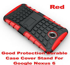 Red Heavy Duty Strong Tradesman TPU Hard Case Cover Stand For Google Nexus 6