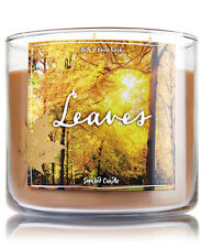 Bath & Body Works Leaves Three Wick 14.5 Ounces Scented Candle Retail $22.50