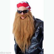 ZZ Top Biker Long Beard & Moustache Set Fancy dress Costume Light Brown