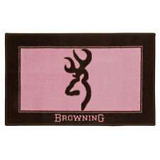 BROWNING BUCKMARK Pink Bath Mat -Rug Bathroom Womens Cabin Logo Wildlife Lodge