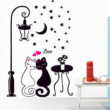 DIY Black Couple Cat Wall Decal Stickers For Home Decor Living Room