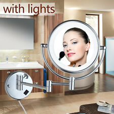 Round Beauty Makeup Cosmetic Mirror Normal Wall Mounted Mirror with LED Light