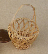 1:12th Single Handmade Wicker Basket Dolls House Miniature Garden Accessory ZA