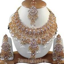 Wedding Jewelry Gold Tone CZ Ethnic White Necklace Set V#77 Jewellery India