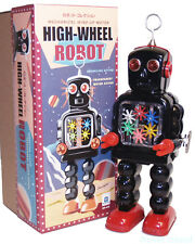 Wind Up Gear Robot High Wheel Black Schylling Tin Toys NEW!